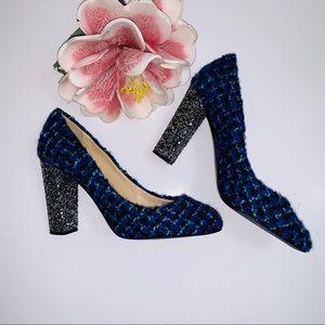 J.CREW Etta Blue Tweed With Glitter Block Heels